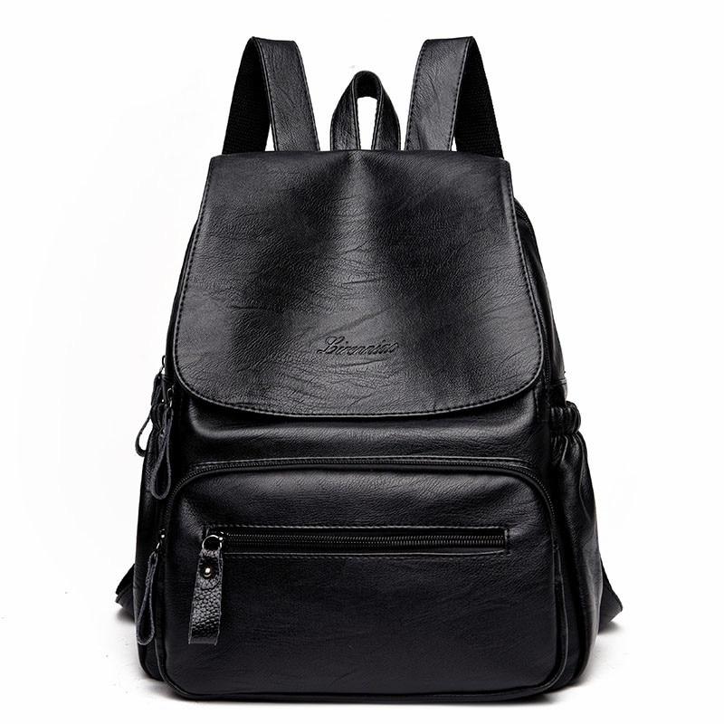 Leather Backpack Women Large School Bag Backpacks For Teenager Girl Fashion Solid Backpacks