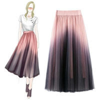 Lace skirts womens faldas mujer moda Mesh Pleated skirt Preppy Style jupe longue femme Ankle Length Gradient high waist skirt
