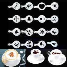16 шт трафареты для капучино кофе бариста шаблон Упругие цветы Pad Duster Спрей