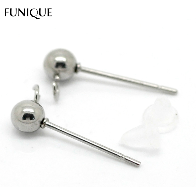 50PCs Stainless Steel Earring Studs Water Drop W// Stoppers