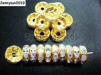 200 sztuk/partia 4mm Najlepsza Jakość Czech Crystal Clear AB Rhinestone Pave Rondelle Metal Spacer Luźne Koraliki Biżuteria Making