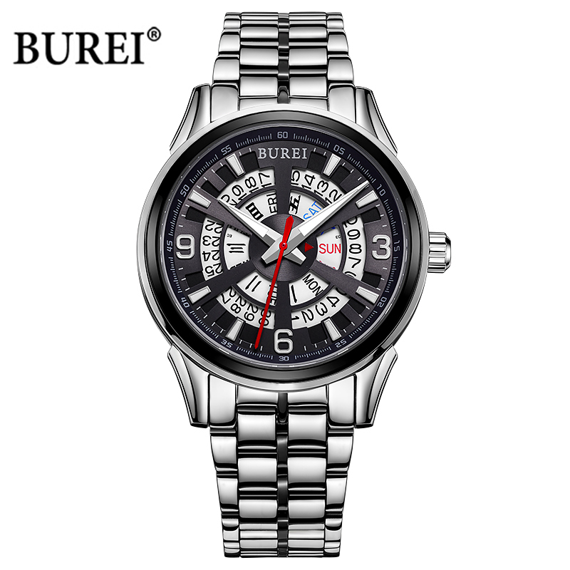 BUREI Mechanical Watch Men Luxury Military Sapphire Crystal Business Automatic Wrist Watch Army Clock Men Saat Relogio Masculino casima brand week date mechanical watch men sapphire crystal business automatic wrist watch waterproof clock relogio masculino