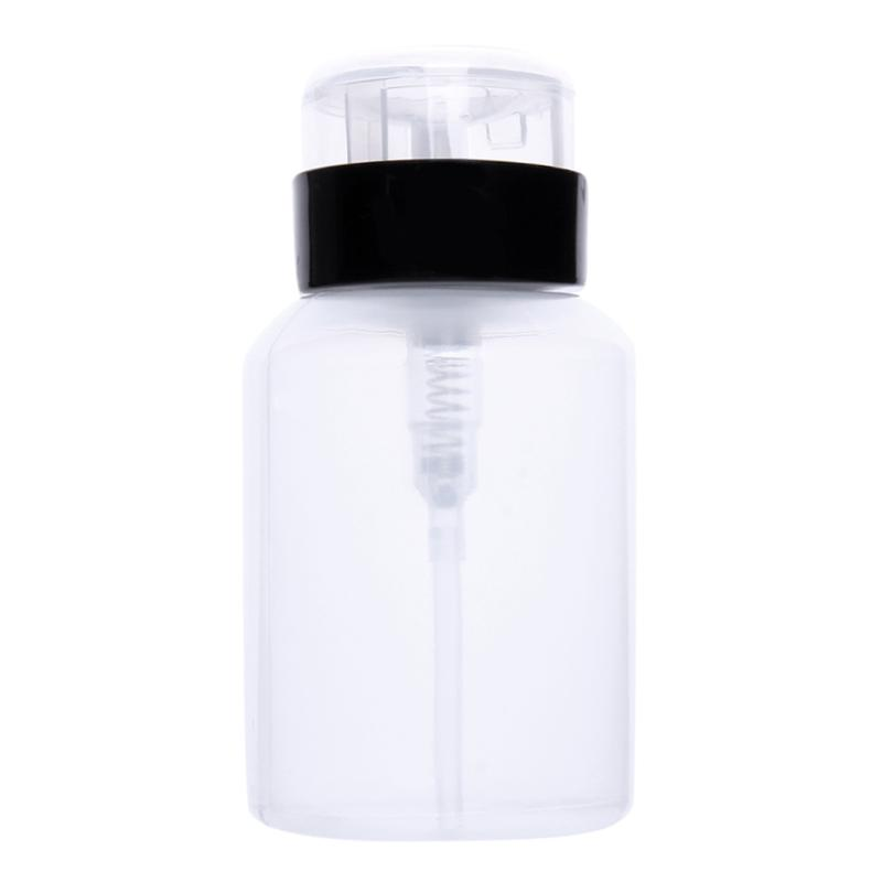 220ML Black Empty Pump Bottle Liquid Alcohol Press Nail Polish Remover Cleaner Bottle Dispenser Make Up Refillable Container alcohol and liquid container bottle white 180ml