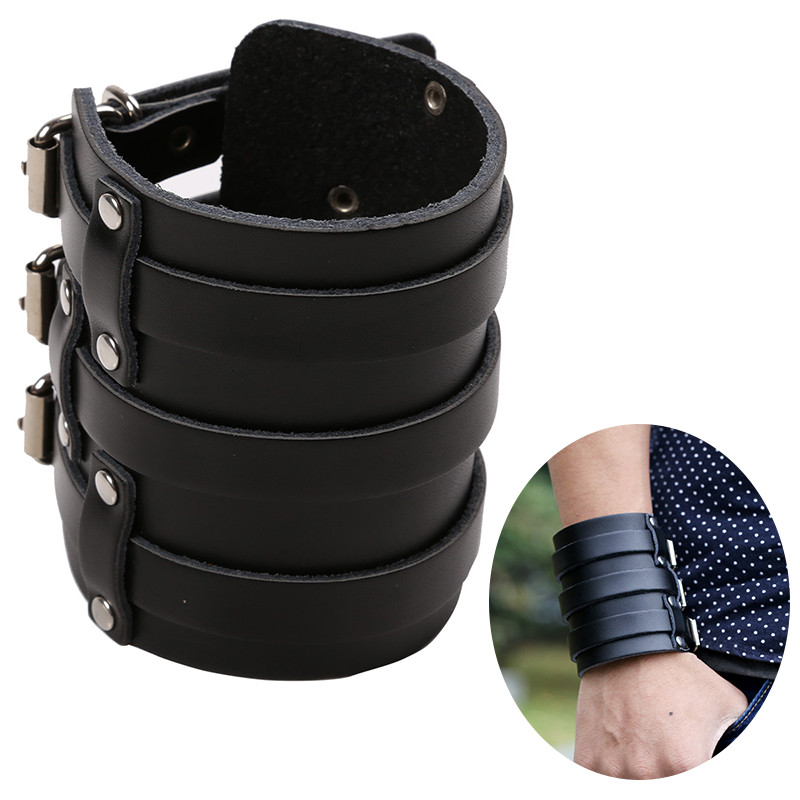 Contemplative Msemis Mens Pu Leather Arm Warmers Wide Bangle Cuff Wristband Bracelet Belt With Three Buckle Clasps Bracer Protective Arm Armor Making Things Convenient For The People Men's Arm Warmers Apparel Accessories