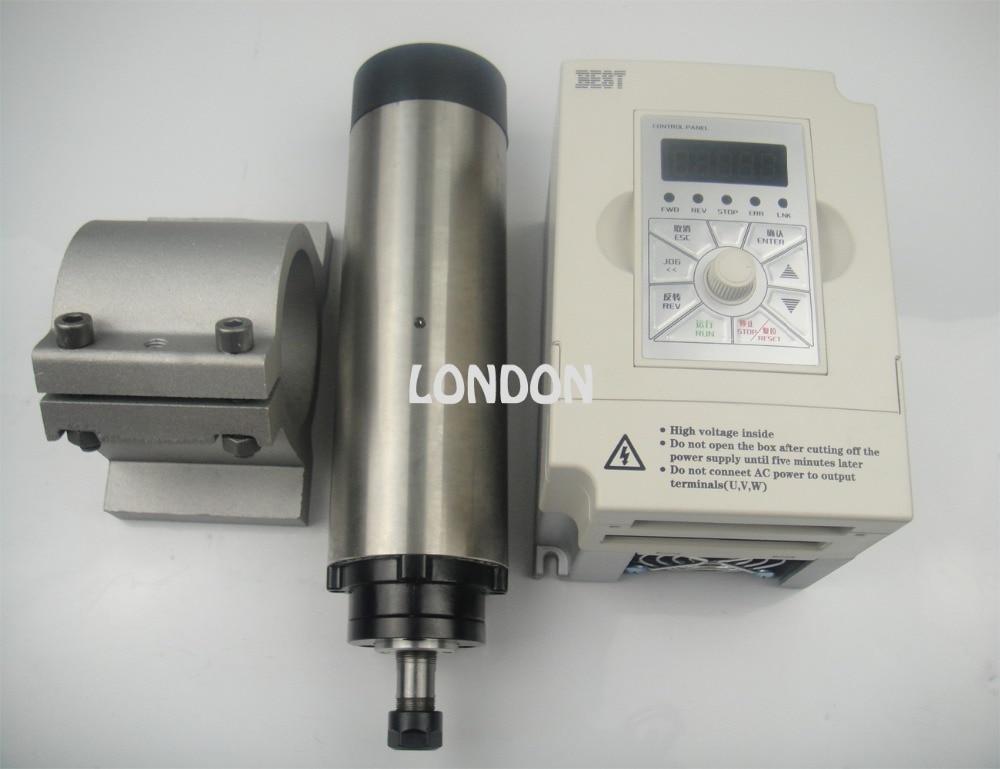 کیت اسپیندل CNC موتور اسپیندل خنک کننده هوا + اینورتر 1.5 کیلو وات + پشتیبانی دوک نخ ریسی