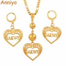 Anniyo Iakwe Jewelry sets With Heart Pendant Necklaces Earrings for Women  #140206