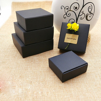 300pcs Wholesale Black kraft paper gift packing box black cardboard paper box small carton jewelry gift packaging paper box
