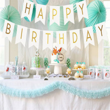 Glitter Happy Birthday Bunting Banner Zelta burti Piekaramie Garlands Pastel Pink String karogi Baby Shower Party Decor Supplies