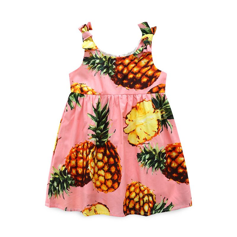 BRWCF New Cotton Girls Dresses with European and American Style Pineapple Print Beach Dresses for Girls Costume Elsa 3T-10T brwcf new 2018 autumn