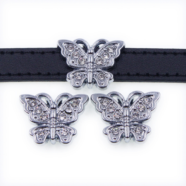 Factory price The newest 10pcs 10mm rhinestone butterfly Slide Charms SL517 Fit  10mm Pet Collars Wristbands e77dffb955d8