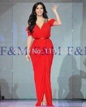 2016 Sexy Lady New Fashion Classic Kurzen Ärmeln Mermaid Rot V-ausschnitt Einfache Luxus Bodenlangen Pageant Abendkleider