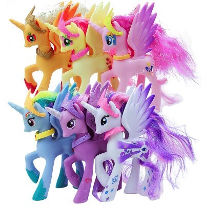 6Pcs/Set Purple Princess Rainbow Apple Jack Rarity Fluttershy Pinkie Pie Unicorn Horse Action Toy Figures 14CM High