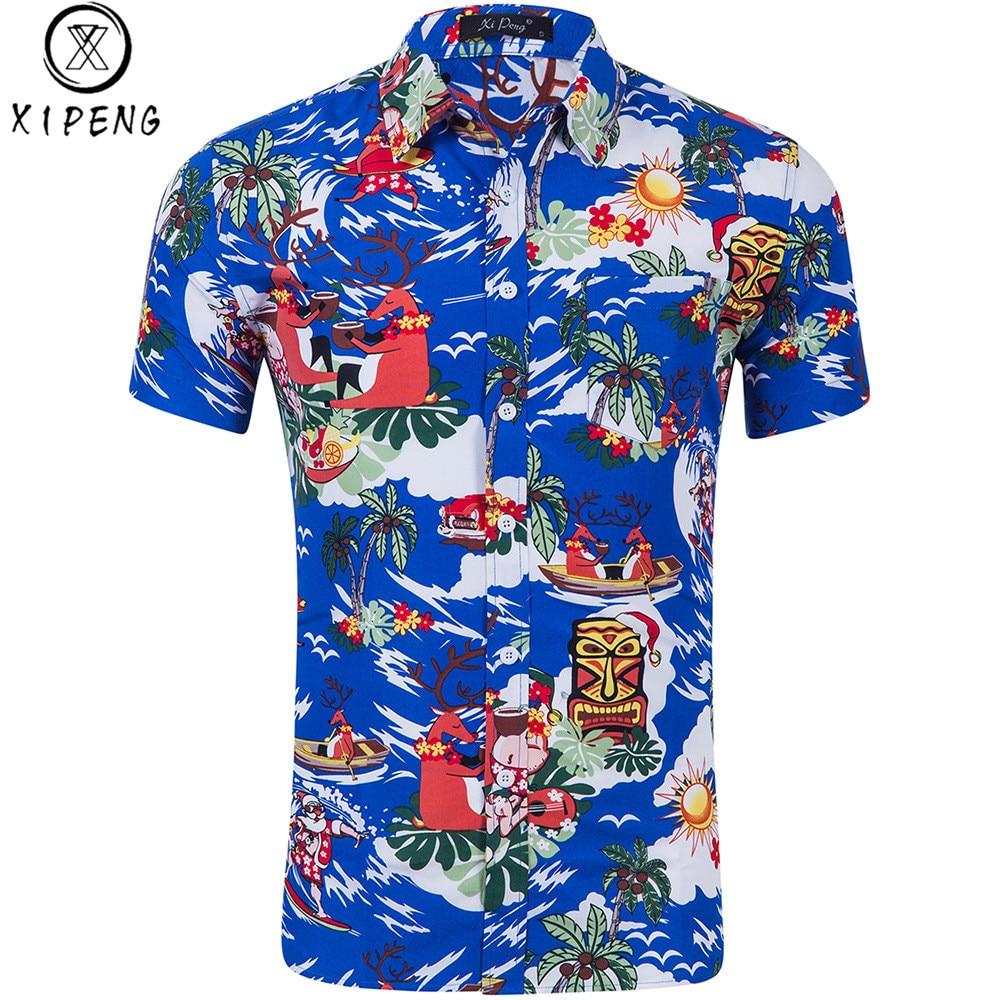 Christmas Series Santa Claus Deer 3D Print Summer Shirt Men's Short Sleeve Shirt Brand Casual Cotton Hawaiian Camisas Masculinas