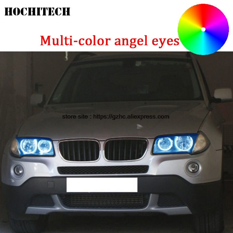HochiTech For BMW E83 X3 2003-2010 car styling Multi-color LED Demon Angel Eyes Kit Halo Ring Day Light DRL with remote control hochitech rgb multi color halo rings kit car styling for bmw 3 series e90 05 08 halogen headlight angel eyes wifi remote control