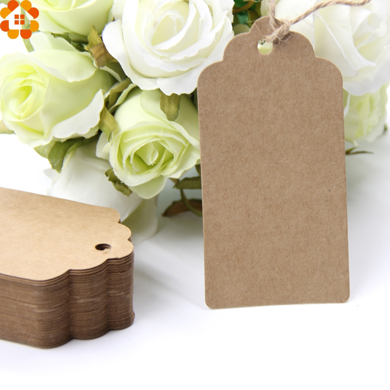 50pcs Kraft Paper LOVE Gift Tags Label Blank Greeting Card with String Party