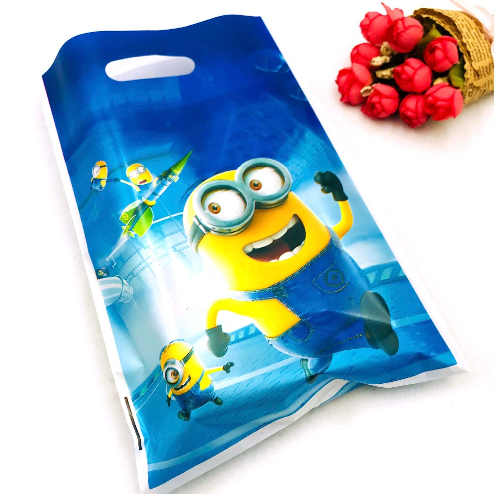 10pcs Minions Gift Bag 1st Birthday Boy Party Decoration Loot Ideas Girl Minion Baby Shower Themed Candy Shopping Bags Supplies In Wrapping