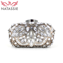 NATASSIE Women Luxury Alloy Beaded Bags Ladies Evening High Quality Diamonds Designer Handbags Wedding Party Clutches Purses