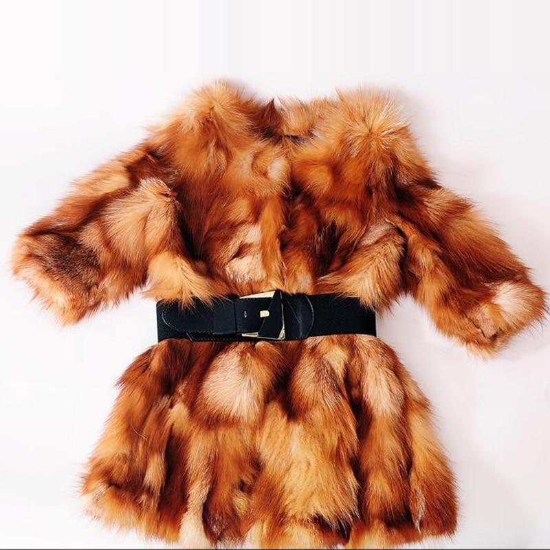 100% Կանայք Ձմռան խիտ իրական աղվեսի - Կանացի հագուստ - Լուսանկար 3