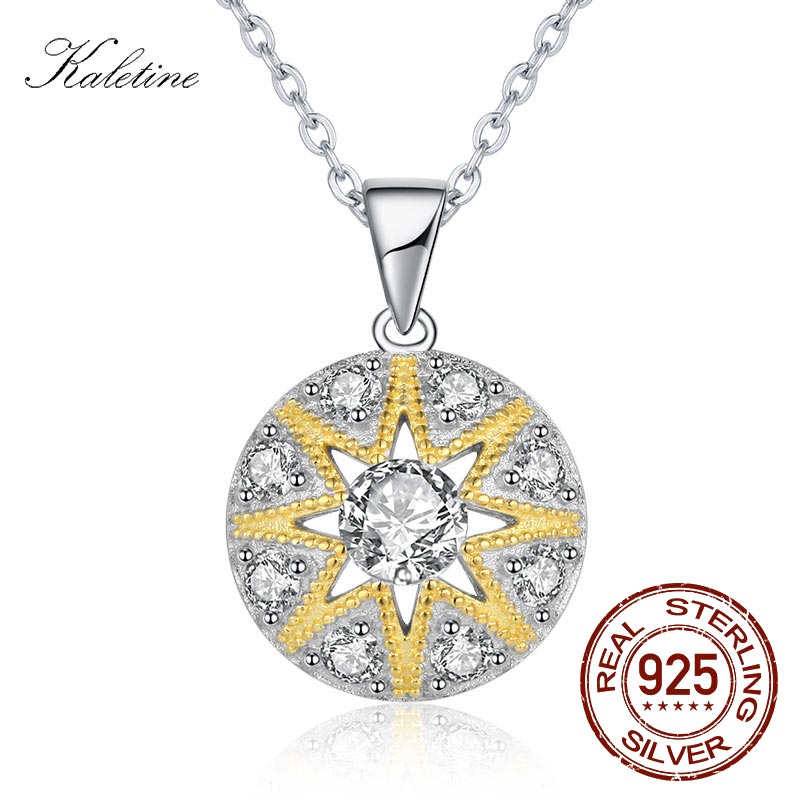KALETINE 925 Sterling Silver Pendant Necklace Women Round Sun Star CZ Charm Good Luck Necklace Accessories Turkey Jewelry