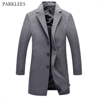 Long Wool Trench Coat Men 2017 New Winter Thick Overcoat Mens Warm Windbreaker Trench Coat Single Breasted Pea Coat Outwear Gray