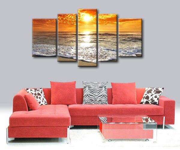 Fairy natuurlijke strand zonsondergang olieverf mooie landschap landschap canvas schilderkunst voor woonkamer - 2