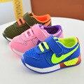 2017 primavera verão crianças esporte casual shoes moda das meninas dos meninos da criança shoes esporte running net shoes led shoes 21-25