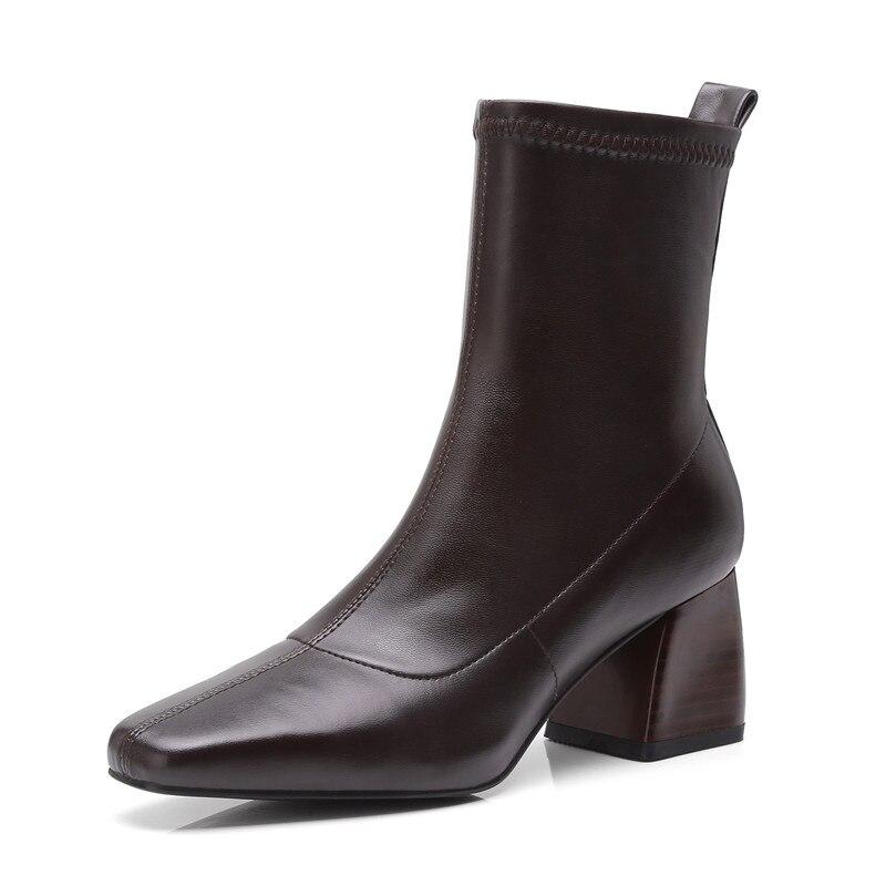 Chaussures brown Épais Talons 39 Black Femmes Hauts Bout Carré Bottes Causalité Anmairon Femme Dames Bottines Noires Cr1023 34 Pour Taille Tendance uF153TlJKc