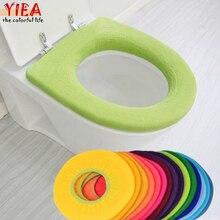 Теплое сиденье на унитаз чехол для ванной комнаты продукты пьедестал поддон подушки колодки лайкра использовать в o-образной смыва Удобный Туалет случайный