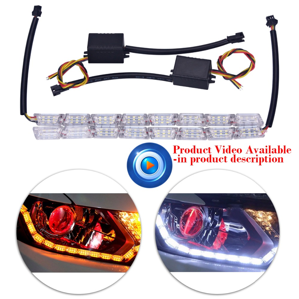 2xCar Styling 8LED Knight Rider Strip LED Daytime Running Light Turn Signal LightS Flowing Yellow Steady Crystal Bar DRL Lamp new 2 pcs car led daytime running light turn signal light flowing yellow steady auto flexible styling strip crystal led bar drl