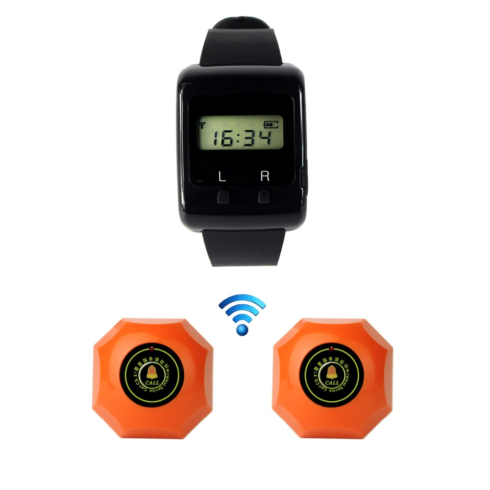 ФОТО 433MHz Wireless Restaurant Pager Calling System 1pcs Wrist Watch Receiver Host +2pcs Call Button Pager Waterproof F3273