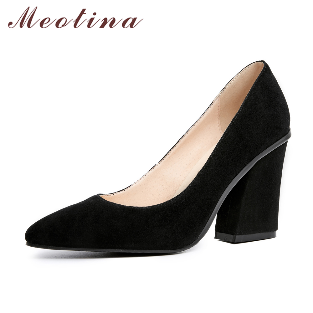 Meotina Designer Suede Leather Pumps Women Shoes High Heel Pumps Pointed Toe Slip On Ladies Dress Shoe Black Gray Big Size 9 42 meotina brand design mules shoes 2017 women flats spring summer pointed toe kid suede flat shoes ladies slides black size 34 39