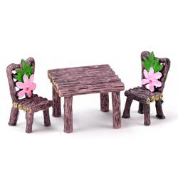 3pcs/Set Garden Mini Resin Craft Table Chair Micro Ornament Landscape Tiny Fairy World Decoration Toy For Kids Gift 19