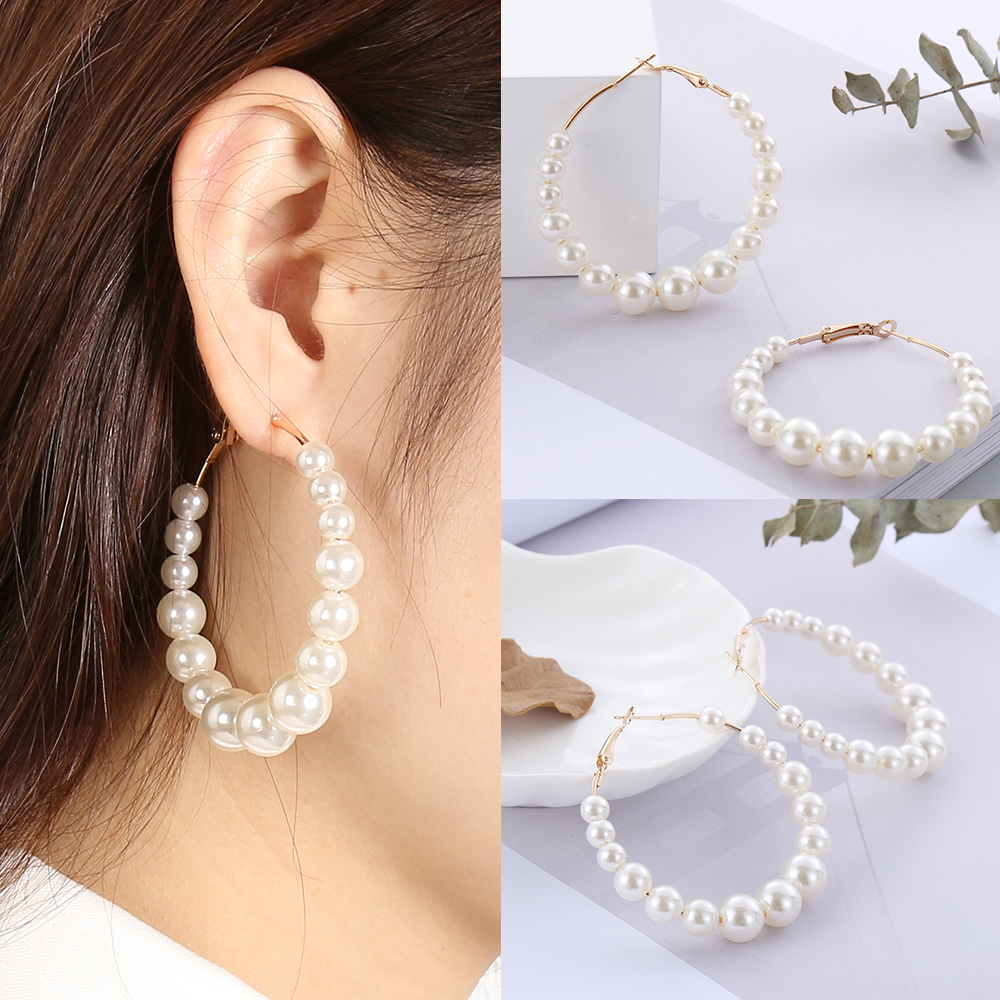 Large Black Faux Pearl Necklace Set for Women Girls Pearls Drop Dangle Earrings