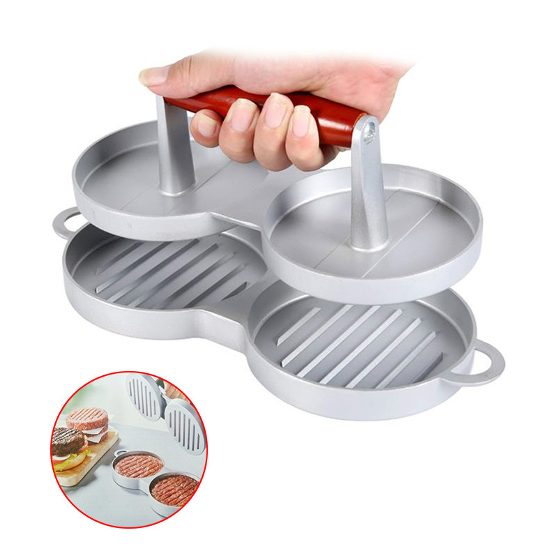 Hot Double Hamburger Press Nonstick cast aluminum Burger Maker Meat Patties Hamburger Mold Patty Press 2 Holes Cooking Bar tool