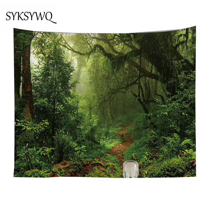 Green Forest Tapestry Wall Sheet Home Decor Drop Shipping Fabric Wall Rug New Arrival Large Tapestry