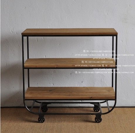 Retro Industrial LOFT American Country Style Wood Bookcase Shelves Do The Old Wrought Iron Wheels Pine Bookshelf In Luggage Racks From Furniture On