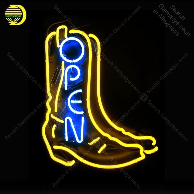 Enseigne au néon pour ouvrir avec chaussure néon ampoule signe artisanat amour cadeau verre tube lumière décorer lampes murales annoncer affichage magasin