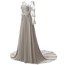 Real Photo Long Sleeves Formal Evening Gown Gray Elegant Long Prom Evening Dresses 2018
