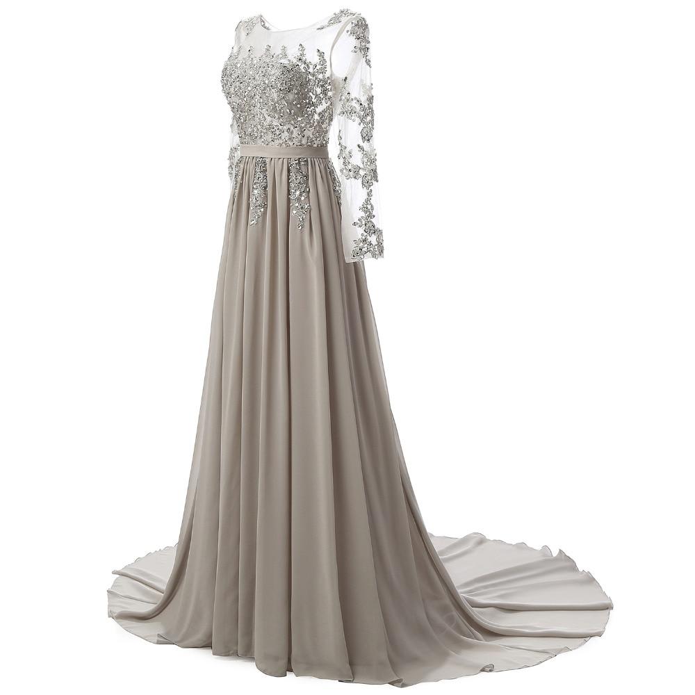 Echte foto lange mouwen formele avondjurk grijze elegante lange prom - Jurken voor bijzondere gelegenheden - Foto 2