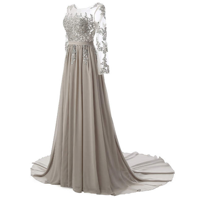 bb7543ad95 Real Photo Long Sleeves Formal Evening Gown Gray Elegant Long Prom Evening  Dresses 2019