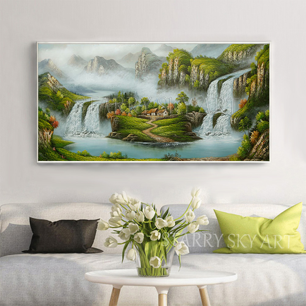 Excellent Artist Hand painted Traditional Chinese Feng Shui Oil Painting on Canvas Chinese Treasure Bowl Landscape Oil Painting - 2