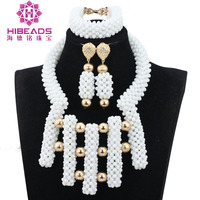 White Beads Jewellery Set New Dubai Gold Jewellery Chunky Crystal Statement Necklace Set African Bride Jewelry Set QW1196