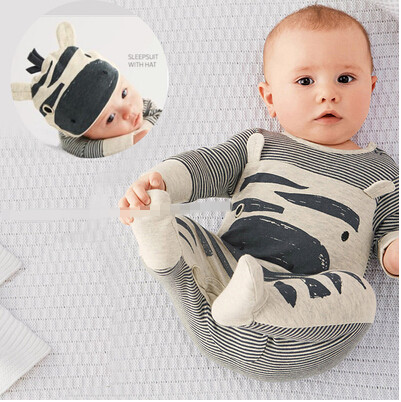 1b688c557ca Cute Newborn Baby Boy Clothes Cartoon Zebra Style Cotton Long sleeve Baby  Romper+Hat Infant Toddler 2pcs Suit Baby Girls Clothes