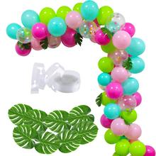 METABLE 100 PCS DIY Balloons Garland with Blue Green Hotpink Confetti Balloons, Hawaii Flamingo Tropical Themed Party Supplies