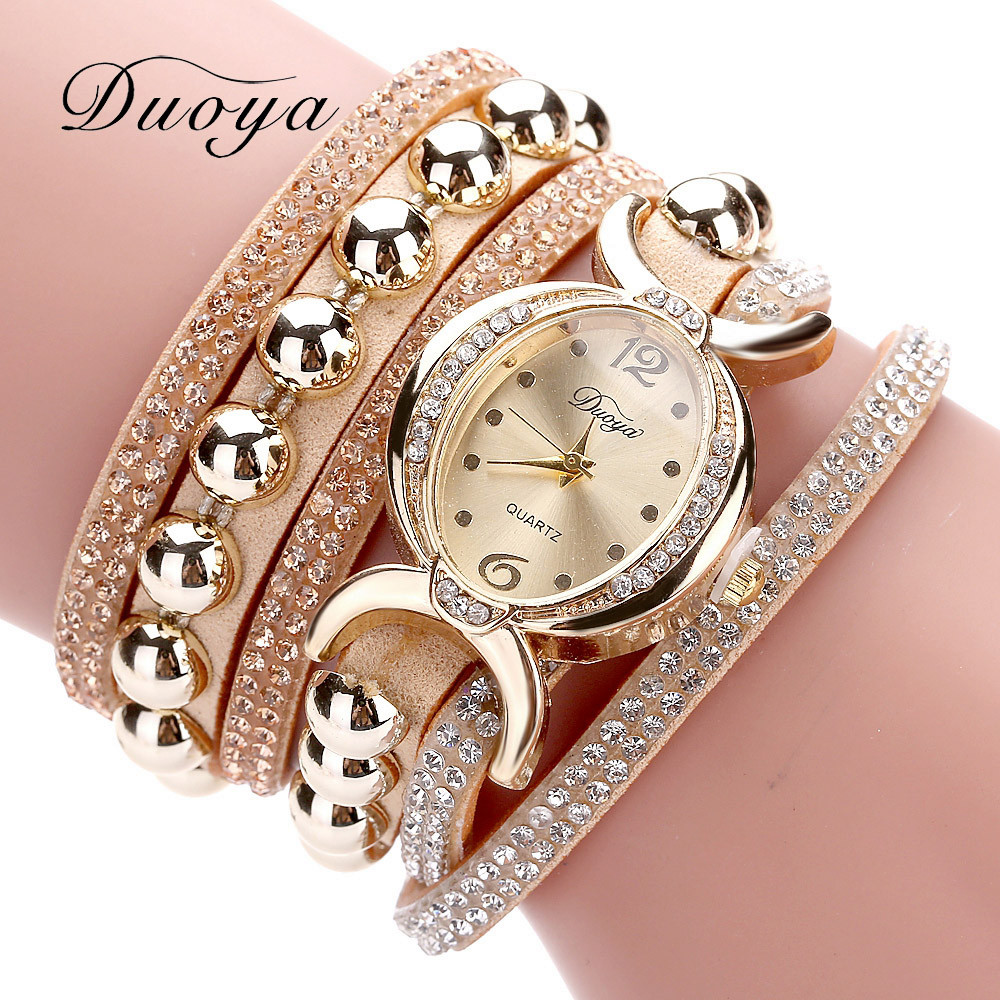 Excellent Quality Duoya Women Bracelet Watch Quartz Watch Wristwatch Women Dress Leather Bracelet Watches Montre Femme #A12