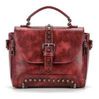 Ladies Handbag Genuine Leather Fashion Rivet Bags for Girls Shoulder Messenger Bag Women Crossbody Bag Small girls geometric bag