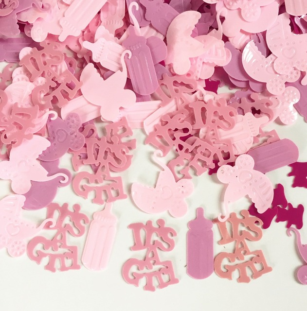 50g Newborn Girl Baby Shower Party Table Scatter Decoration Kits PINK ITu0027S  A GIRL Foil CONFETTI
