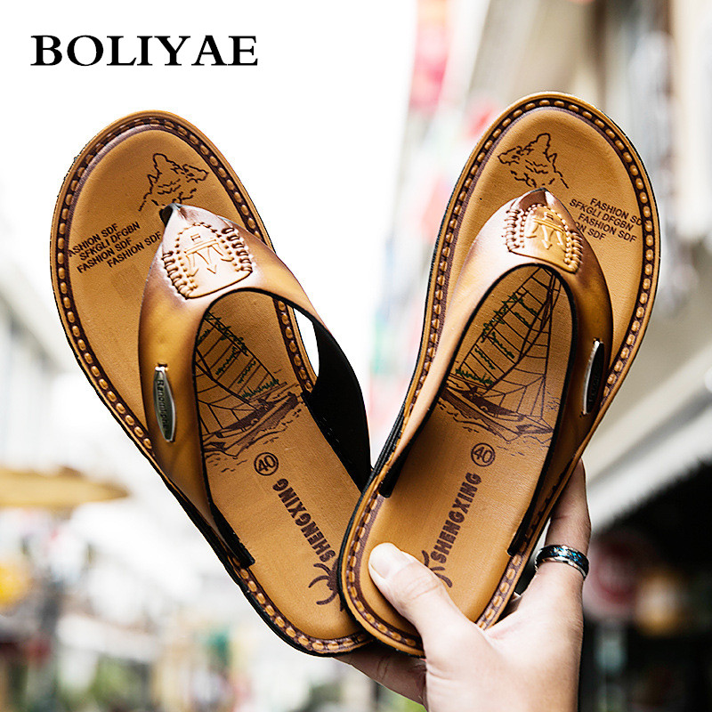 New Fashion Leather flip flops Men Beach outdoor Non-slip Breathable For Summer Men Causal Shoes Sandals Male Slippers(China)