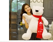 large 120cm white polar bear plush toy red scard bear doll soft throw pillow, Valentine's Day,Xmas gift c638