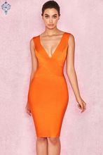 Ameision  Sexy Dress Club Wear Summer Party 2019 New Arrival Orange Deep v Neck Women Bandage Bodycon Sleeveless XL